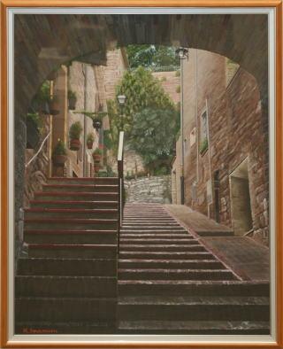 洋画 「 山の上の街アッシジ 」 今村邦宏 作